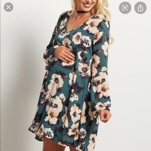 PinkBlush Floral Green Bell Sleeve Maternity Dress